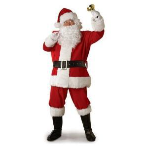 サンタクロース 衣装 男性 メンズ サンタ コスプレ コスチューム 6点セット ブーツ カバー付属 (ジャケット+ズボン+ベルト+帽子+ひげ+靴カバー)|barsado2