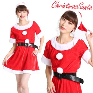 サンタ コスプレ 衣装 レディース セクシー かわいい 女の子 スカート ミニ 手袋 帽子 セット 長袖 ワンピース クリスマス パーティー|barsado2