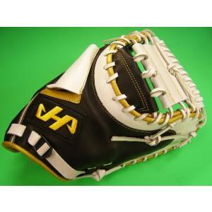 型付け無料 ハタケヤマ HATAKEYAMA 海外モデル ソフトボール用 キャッチャーミット ブラック×ホワイト×ゴールド 硬式 キャッチャー ミット