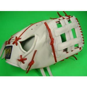 型付け無料 送料無料! 職人手作り 佐川作 硬式用 ファーストミット アメリカン・スタイル ホワイト×レッド baseballfield