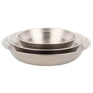 4種類の器を重ねてオールインワンに収納できる薄く軽量なステンレス製のテーブルウェア、1人用。  自然...