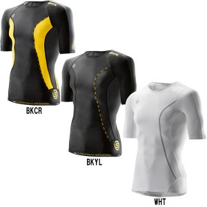 スキンズ SKINS アンダーシャツ 半袖 丸首 メンズ ショートスリーブトップ DK9905004 des17fw skin17fw|baseman