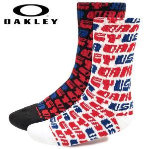 あすつく OAKLEY オークリー 2足組 ソックス 靴下 カジュアル Oakley Socks Usa 2Pcs Pack 93342 oak19fw|baseman