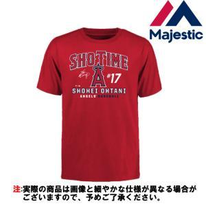 あすつく 大谷翔平 マジェスティック Tシャツ SHOTIME 半袖 エンゼルス 17 綿100% LAA メジャー MM08-LA-8001-RD maj18ss|baseman