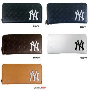 あすつく イーカム MLB 長財布 ニューヨークヤンキース ロゴ型押し YK-1406P-02|baseman