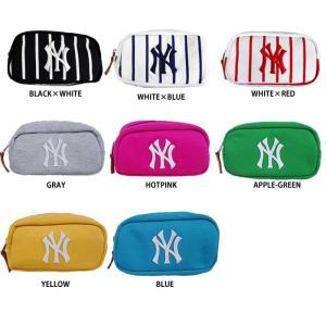 あすつく イーカム MLB ニューヨークヤンキース ポーチ 小物入れ ロゴ刺繍 YK-PCH07|baseman