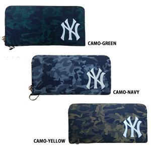 あすつく イーカム MLB 長財布 ニューヨークヤンキース カモ柄 YK-WLT10|baseman