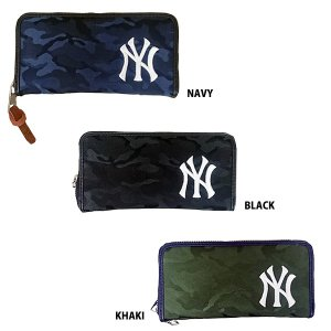 あすつく イーカム MLB 長財布 ニューヨークヤンキース 織カモ柄 ジャガード YK-WLT11|baseman