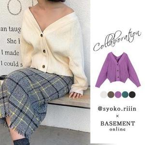 大人気インスタグラマー【syoko.riiinさん】コラボ!ざっくり編み&ボタンが印象的なショート丈...