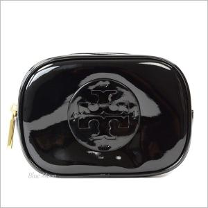 トリーバーチ TORY BURCH コスメポーチ 化粧ポーチ レディース パテントレザー アウトレット ブラック 40926|basilshop