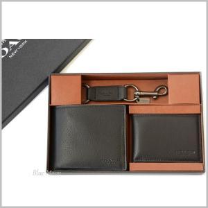 f7970638c9d2 コーチ COACH 財布 二つ折り財布 メンズ カードケース/キーホルダー 3点セット アウトレット ブラック 黒 正規箱入り
