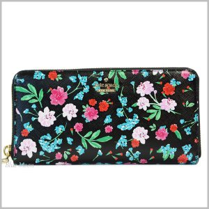 ケイトスペード 財布 KATE SPADE 長財布 レディース アウトレット 花柄 ブラックマルチ PWRU5780|basilshop