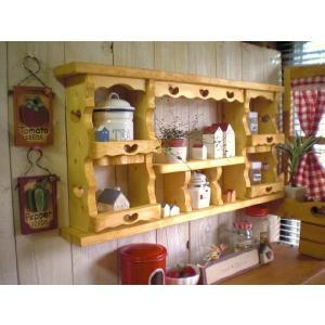☆★デザインディスプレイシェルフ・タナC★☆  ウォールシェルフ・木製ラック・キッチン収納・カントリー・アンティーク風の写真