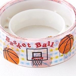 オリジナルマスキングビニールテープ(ミニ) バスケットボール柄(白)