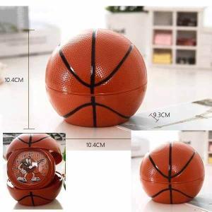 バスケットボール型 フォトフレーム付目覚まし時計