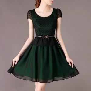 0052エレガント 春のOL通勤 シフォン刺繍入り半袖ドレス...