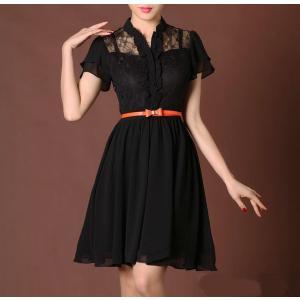 0054エレガント レースドレス ふんわりブラック ワンピー...