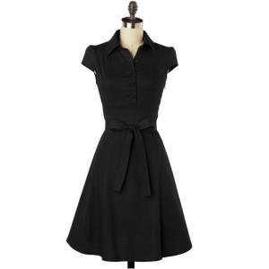 hl0052 Aライン ドレス ワンピース 黒ブラック  結...