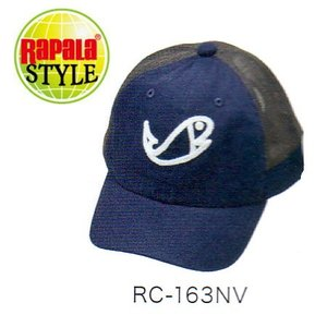 ●ラパラ Chenille Fish ロゴ メッシュキャップ ネイビー RC-163NV 【まとめ送料割】|bass-infinity