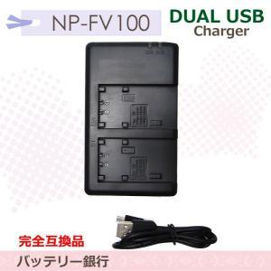 電池2個まで同時充電可能SONY NP-FV100/70/60/50/FH100/70/60/50/NP-FP90/NP-FP70/NP-FP71対応互換充電器 BC-TRV HDR-SR12/HDR-SR87