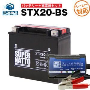 バイク用バッテリー ハーレ用バッテリーSTX20-BS YTX20-BSに互換 お得2点セット バッテリー+充電器 スーパーナット 総販売数100万個突破|batterystorecom