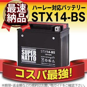 バイク用バッテリー ハーレー専用バッテリー STX14-BS 65948-00互換 100%交換保証 今だけ 1000円分の特典あり 最速納品 スーパーナット ハーレーバッテリー|batterystorecom