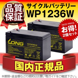 UPS(無停電電源装置) WP1236W【お得 2個セット】(産業用鉛蓄電池) 新品 LONG 長寿命・保証書付き Smart-UPS 750 など対応 サイクルバッテリー batterystorecom