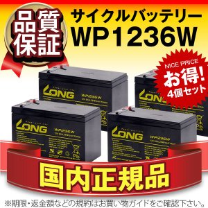 UPS(無停電電源装置) WP1236W【お得 4個セット】(産業用鉛蓄電池) 新品 LONG 長寿命・保証書付き Smart-UPS 750 など対応 サイクルバッテリー batterystorecom