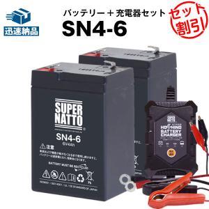 充電器 + SN4-6 バッテリー2個 お得な3点セット 純正品完全互換 安心の動作確認済製品 PE6V4.5 NP4-6 LC-R064R2P 子供用電動乗用おもちゃ対応 スーパーナット|batterystorecom
