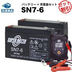 充電器 + SN7-6 バッテリー2個 お得な3点セット 純正品完全互換 安心の動作確認済み製品 RE7-6 PE6V7.2 PXL06090 LC-R067R2PG1 LC-R067R2J1対応 スーパーナット|batterystorecom