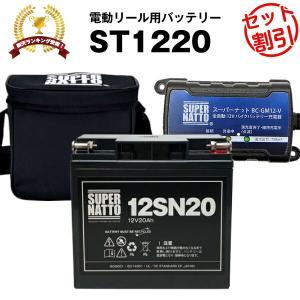 電動リール ST1220 マリンパワー など対応 電動リール用バッテリー お得3点セット 充電器+バッテリー(12V20Ah)+防水キャリーケース|batterystorecom