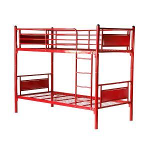 パネル二段ベッド パイプ二段ベッド パイプ2段ベッド 二段ベッド 2段ベッド パイプベッド シングルベッド スチールベッド 052RED|bauhaus1