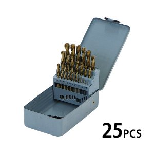 ドリルビット 25PCS 25点 1mm〜13mm 木工用 鉄鋼用 丸軸タイプ ストレート チタンコーティング チタンメッキ ハイス鋼 HSS ビットセット ドリル ケース付き|bauhaus1