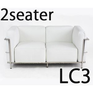 コルビジェデザイン コルビュジェデザイン コルビジエデザイン コルビュジエデザイン LC3 2P 2人掛け ラブソファ 本革 ホワイト|bauhaus1