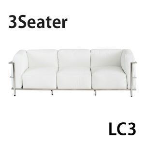 コルビジェデザイン コルビュジェデザイン コルビジエデザイン コルビュジエデザイン LC3 3P 3人掛け トリプルソファ 本革 ホワイト|bauhaus1