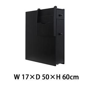 収納ボックス すきま家具 すきま収納 17cm幅 50cm奥行 60cm高さ サニタリーボックス トイレラック トイレ収納 収納 家具 黒 ブラック 18820bk|bauhaus1