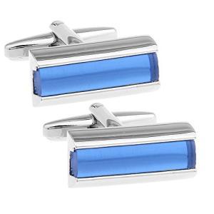 ブルー シンプル バー カフス カフスボタン カフリンクス n02101|bayspring