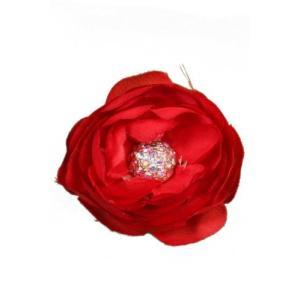 [キャラバン] Caravan クリップ、ラインストーンの付いた花型、赤 3930|bayspring