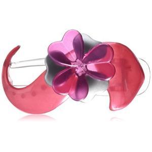 [キャラバン] Caravan 優雅な花飾り付きサロンクリップ シルバーとピンク色 セルロースアセテート製 14g (0.5oz) 8578|bayspring