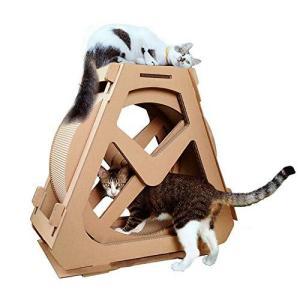 RAKU 猫つめとぎ タワー 観覧車 段ボール キャットホイール 子猫向け 回し車 サイレントホイール 猫のトレッドミル キャットエクササイズホイール|bayspring