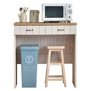 【カリーナseries】CR-C9590 フレンチカントリー風キッチンカウンター まとめてコンパクトに収納出来るキッチン用収納カウンター ゴミ箱収納 bayspring