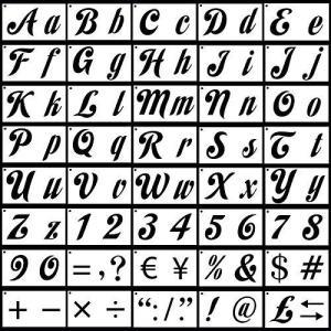 TOPTOMMY ステンシルシート アルファベット文字 数字セット 40枚入|bayspring