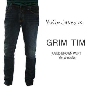 ヌーディージーンズ Nudie Jeans GRIM TIM USED BROWN WEFT グリムティム スリムストレートレッグ ジーンズ デニム ボトム パンツ レングス34|bayswater
