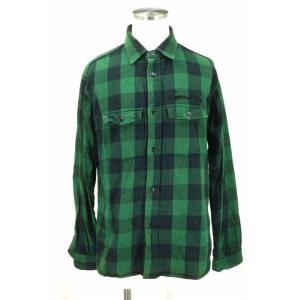 Captains Helm ブロックチェックコットンネルシャツ XL ブラック × グリーン メンズ【バズストア 古着】【中古】|bazzstore