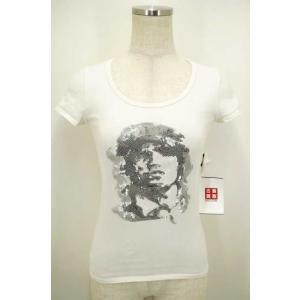 Dartin Bonaparto(ダルタン ボナパル) スパンコールデザインTシャツ 表記無 ホワイト レディース【バズストア 古着】【中古】|bazzstore