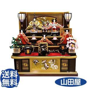 雛人形 コンパクト 久月 ひな人形 三段 五人飾り 秀峰雛 西陣織金襴 十番親王 三五官女 1029 1028|bb-yamadaya