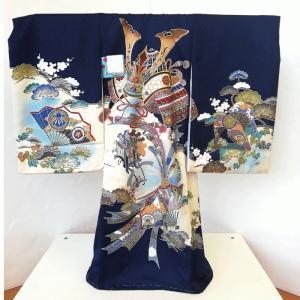 302 お祝着 初着 産着 一ツ身 のしめ 熨斗目 男の子 紺地 背中に兜 金こま刺繍|bb-yamadaya