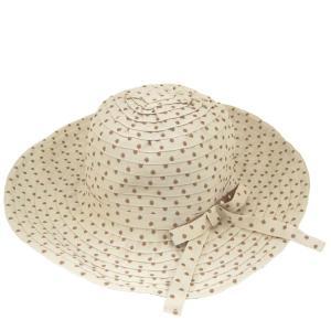 レディースハット キャペリン パッチワーク つば広 ドット 水玉 婦人帽 女性用 bbdirect