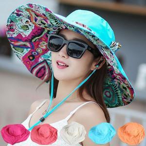 つば広 レディースハット リバーシブル 帽子 リボン付き カラーフル レディースキャップ UVハット 折りたたみ 紫外線防止 日よけ 日除け 婦人帽 春 夏 CAP 2800 bbdirect