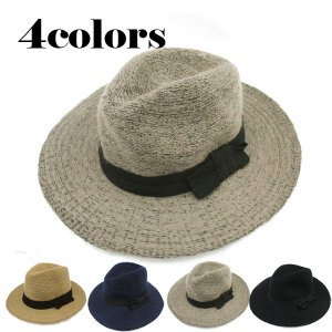 ニット つば広帽子 中折れハット リボン付 ファー ふわふわ メンズ レディース HAT 3302|bbdirect